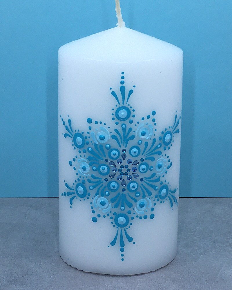 White Candle Blue Snowflake - Deni Rocks