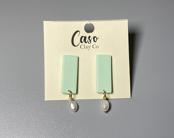 Green Rectangle Earrings